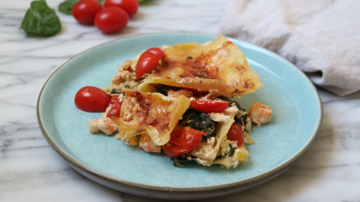 Seafood lasagna with ricotta and tomatoes