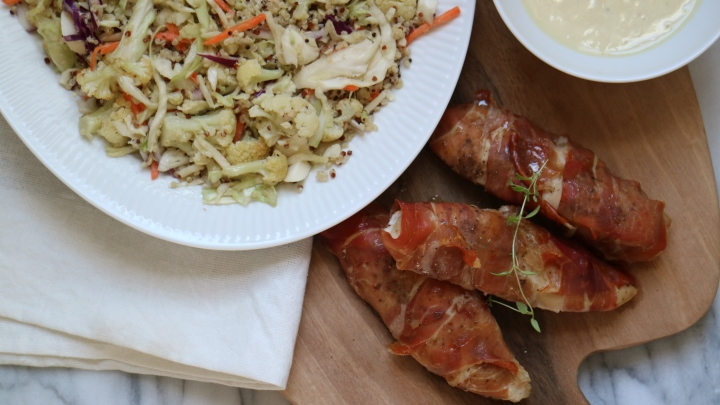 Prosciutto wrapped chicken with quinoa and cauliflower salad