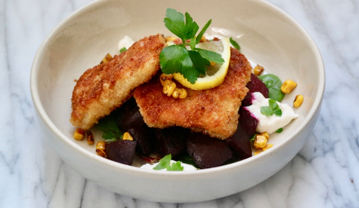 Crispy cod with red beets, roasted corn and horseradish sauce