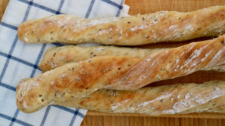 Flaxseed baguette
