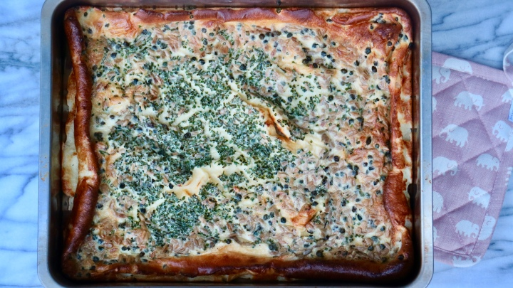 Oven baked pancake (Ugnspannkaka) with capers and chives