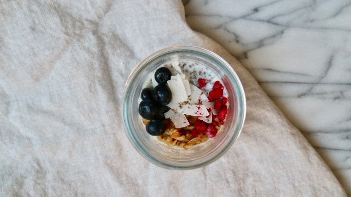 Chia pudding with cardamom, nuts andberries
