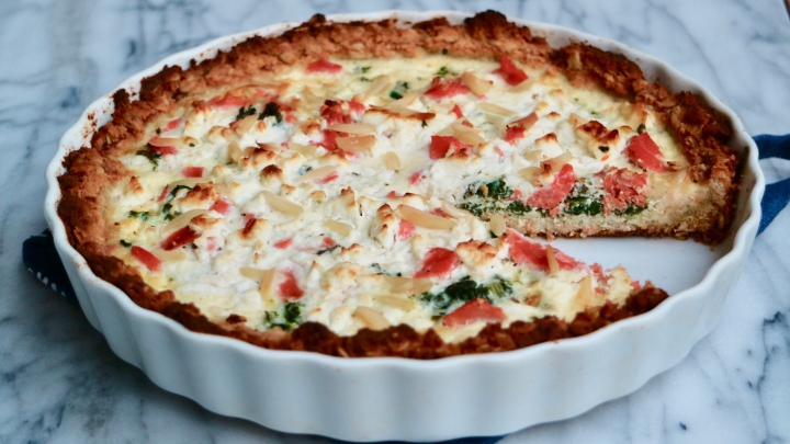 Gluten free quiche with salmon, kale and feta cheese