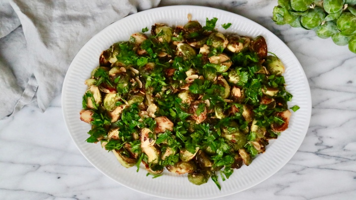 Thanksgiving Brussels Sprouts with chili, sliced almonds and parsley