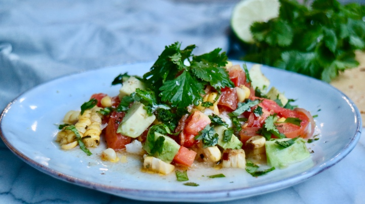 Cod with tomato, corn, avocado andcilantro